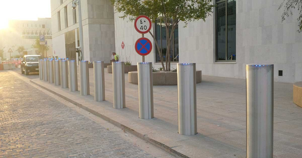 Row of ATG Access stainless steel high security bollards installed in the Heart of Doha, Qatar